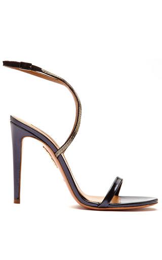 Medium aquazzura black cannes metallic leather strappy sandals
