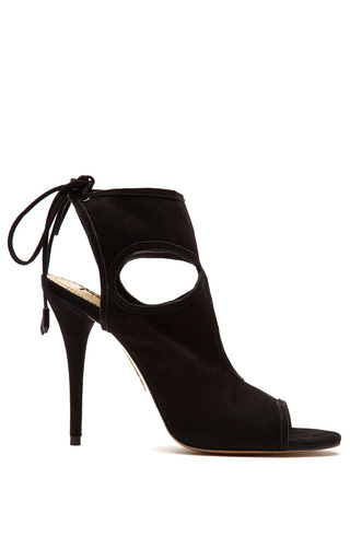 Medium aquazzura black sexy thing suede peep toe sandals 2
