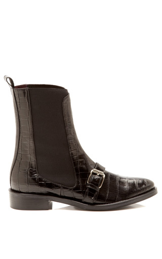 Medium opening ceremony black luxor embossed leather chelsea boots