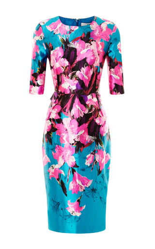 Medium prabal gurung multi floral printed fitted satin dress