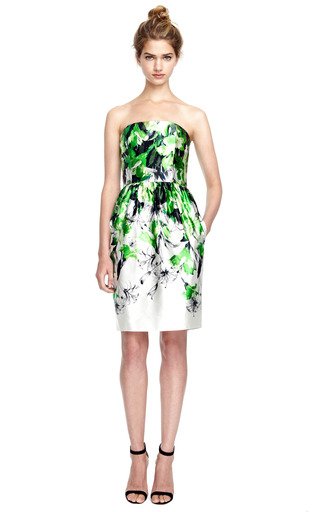 Floral Print Satin Bustier Dress by PRABAL GURUNG Now Available on Moda Operandi