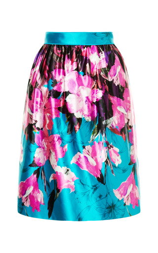 Medium prabal gurung multi floral printed gathered skirt