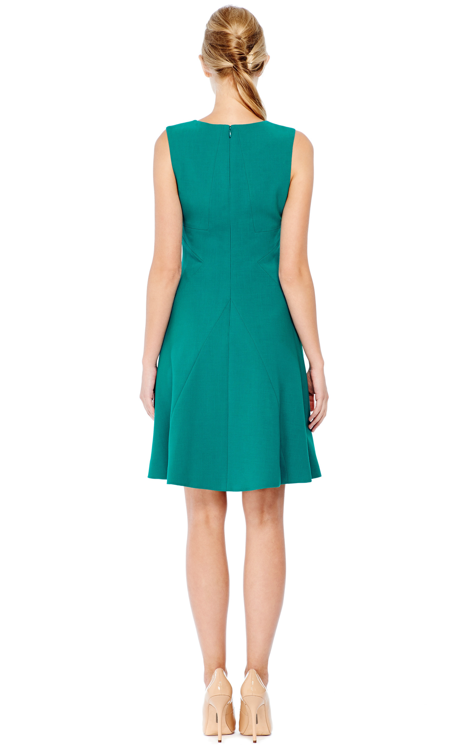 Fitted Wool Crepe Flare Skirt Dress By Prabal Gurung
