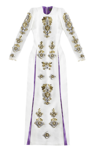 Medium fausto puglisi white wool crepe long dress with embroidered sleeves
