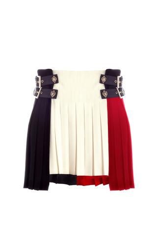 Medium fausto puglisi blue tri tone wool crepe short kilt skirt