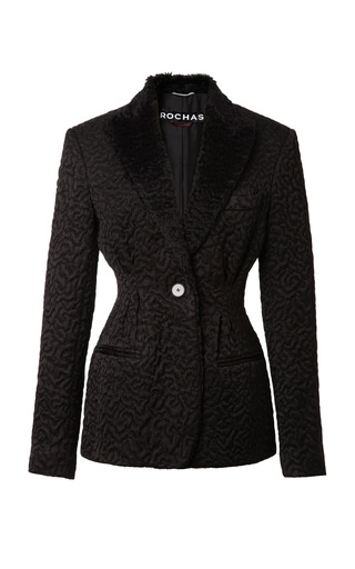 Medium rochas black jacquard blazer with faux astrakhan collar