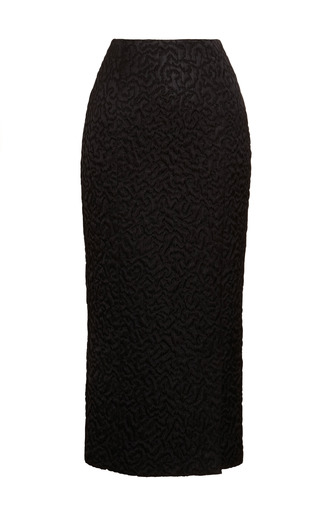 Medium rochas black satin jacquard midi pencil skirt