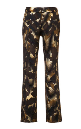 Medium rochas brown ottoman jacquard cannetee pants