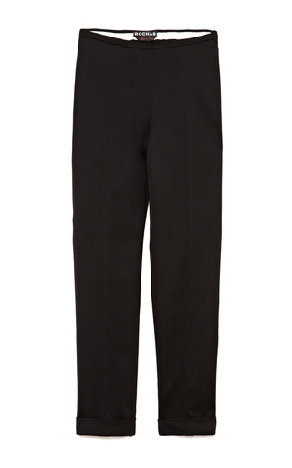Medium rochas black skinny wool blend cropped cuffed pants