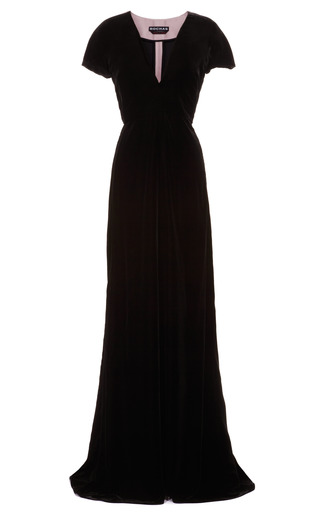 Medium rochas black velvet and satin bustle v neck gown
