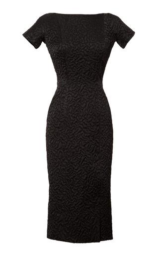Medium rochas black jacquard dress with velvet back