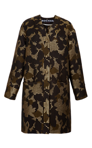 Medium rochas brown metallic jacquard oversized coat