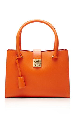 Medium salvatore ferragamo orange juliette leather tote bag