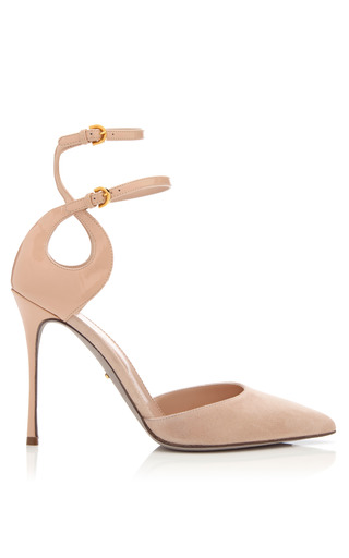 Medium sergio rossi nude turbillon suede and patent leather pumps