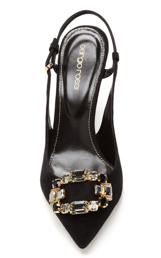 Beth Swarovski Embellished Suede Slingback Pumps by SERGIO ROSSI Now Available on Moda Operandi