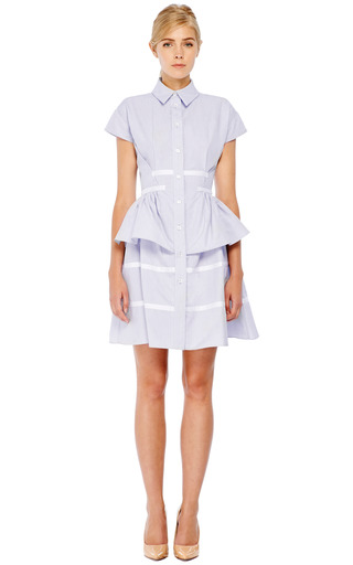 Short Sleeve Cotton Peplum Shirtdress by THAKOON Now Available on Moda Operandi