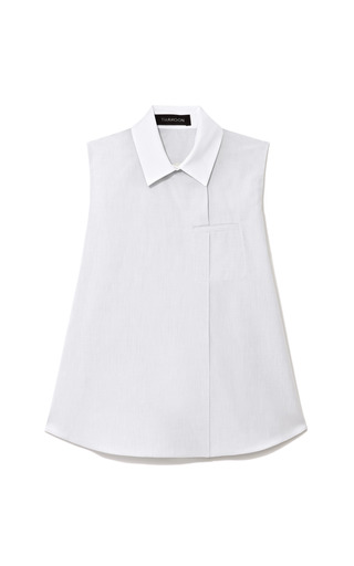 Contrast Collar Cotton Poplin Top by THAKOON Now Available on Moda Operandi