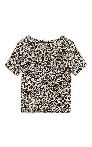 Medium thakoon black floral print wool blend top