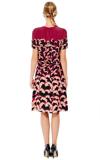 Pintuck Floral Printed Crepe De Chine Dress by THAKOON Now Available on Moda Operandi