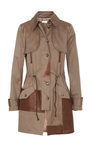 Medium thakoon addition brown leather trimmed canvas trench coat