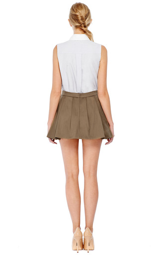 Pleated A Line Mini Skirt by THAKOON ADDITION Now Available on Moda Operandi