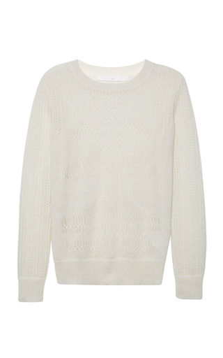 Medium thakoon addition white mohair blend lace knit sweater