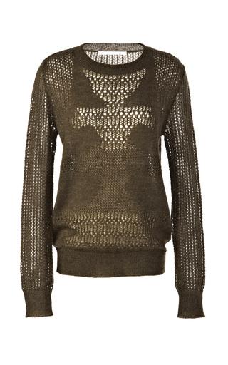 Medium thakoon addition green mohair blend open knit sweater