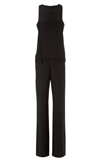 Medium thakoon addition black silk layered jumpsuit