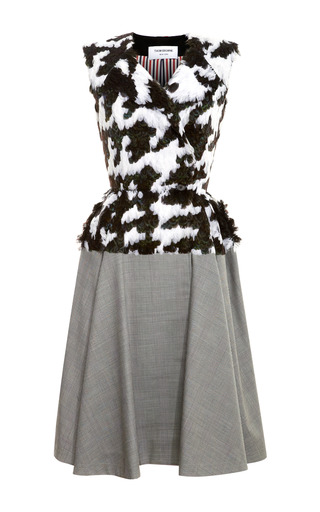 Medium thom browne multi feather embroidered full skirted dress