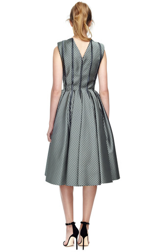 Paneled Silk Jacquard Full Skirted Dress by THOM BROWNE Now Available on Moda Operandi