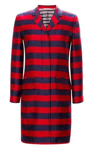 Striped Silk Blend Chesterfield Coat by THOM BROWNE Now Available on Moda Operandi