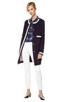 Embellished Wool Blend Collarless Coat by THOM BROWNE Now Available on Moda Operandi