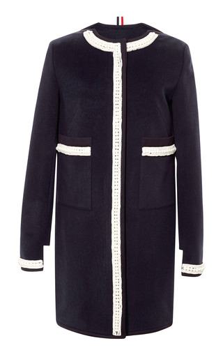 Medium thom browne blue embellished wool blend collarless coat