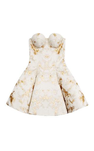 Medium josh goot white gold marble jacquard white corset flare mini dress