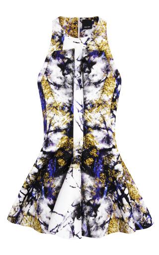 Medium josh goot multi marble texture purple and gold insert flare square panel dress