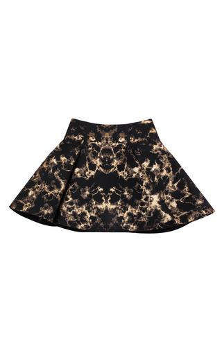Medium josh goot black gold marble jacquard black panel flare mini skirt