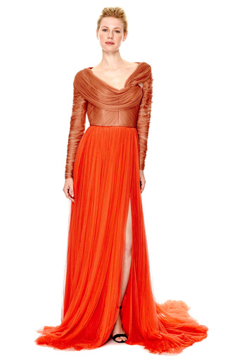 M'o Exclusive: Two Tone Gown With Ruched Bodice And Open Back by DELPOZO Now Available on Moda Operandi