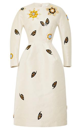 Medium delpozo brown embellished woven sculpted waist midi dress