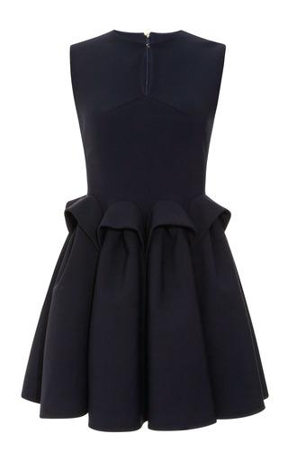 Medium delpozo blue wool crepe sculpted waist dress