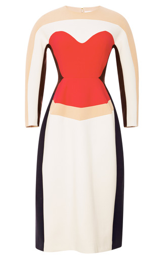 Medium delpozo multi wool crepe sculpted midi dress