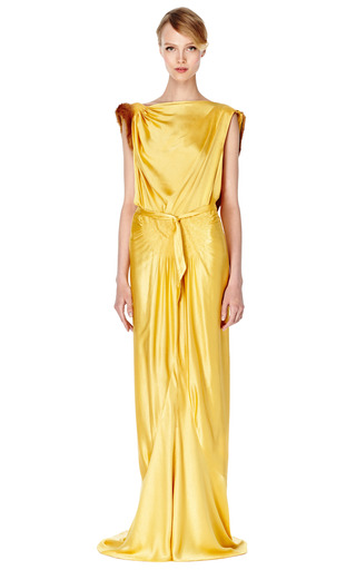 Gold Hammered Satin Evening Gown by NEW YORK VINTAGE for Preorder on Moda Operandi
