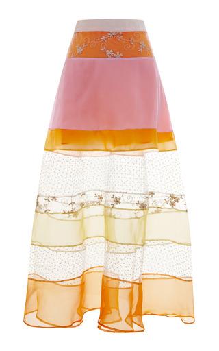 Medium karla spetic orange multi layer long paneled skirt