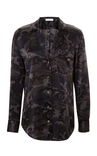 Medium equipment black keira camouflage silk blouse