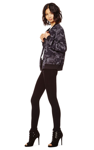 Abbot Camouflage Washed Silk Bomber Jacket by EQUIPMENT Now Available on Moda Operandi