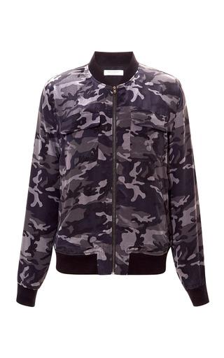 Medium equipment multi abbot camouflage washed silk bomber jacket