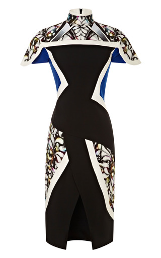 Medium peter pilotto black farah crepe paneled dress 2