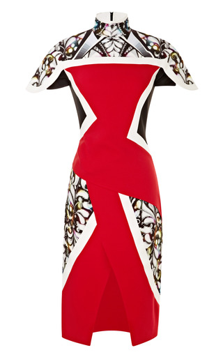Medium peter pilotto red farah crepe paneled dress