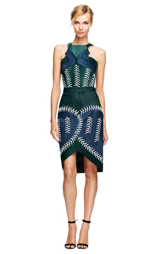 Cross Calf Hair And Whipstitch Detail Skirt by PETER PILOTTO Now Available on Moda Operandi