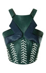 Cross Calf Hair And Whipstitch Detail Corset Top by PETER PILOTTO Now Available on Moda Operandi