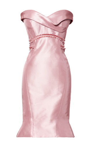 Medium zac posen pink silk strapless geometric dress